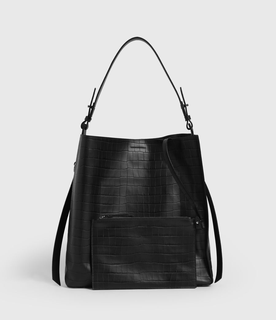 Womens Polly Croc Leather North South Tote Bag (black) - Image 7