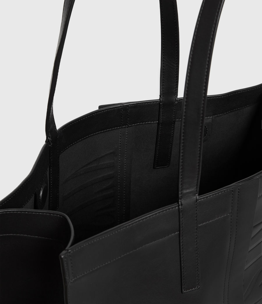 Womens Nina East West Leather Tote Bag (black) - Image 4