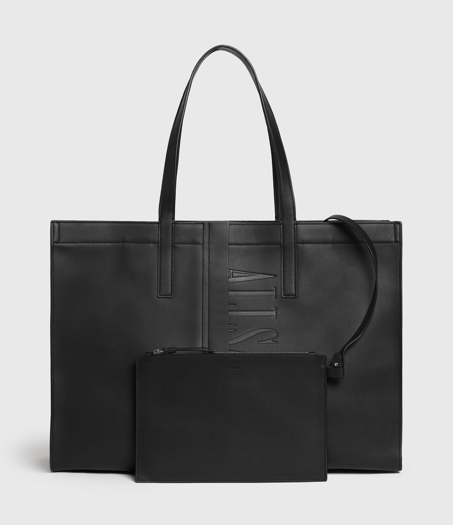 Womens Nina East West Leather Tote Bag (black) - Image 6