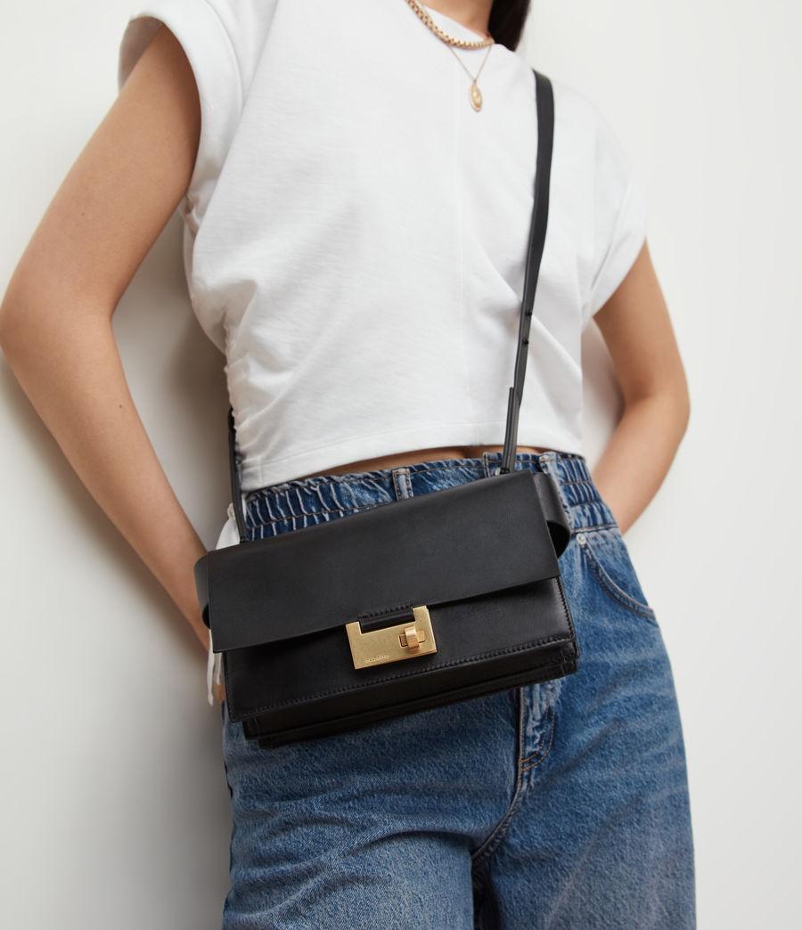 Women's Teca Leather Crossbody Bag (black) - Image 1