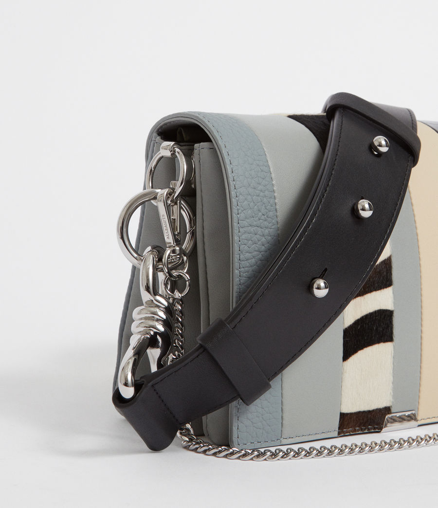 Womens Captain Leather Multi-Flap Shoulder Bag (blue_stripe) - Image 3