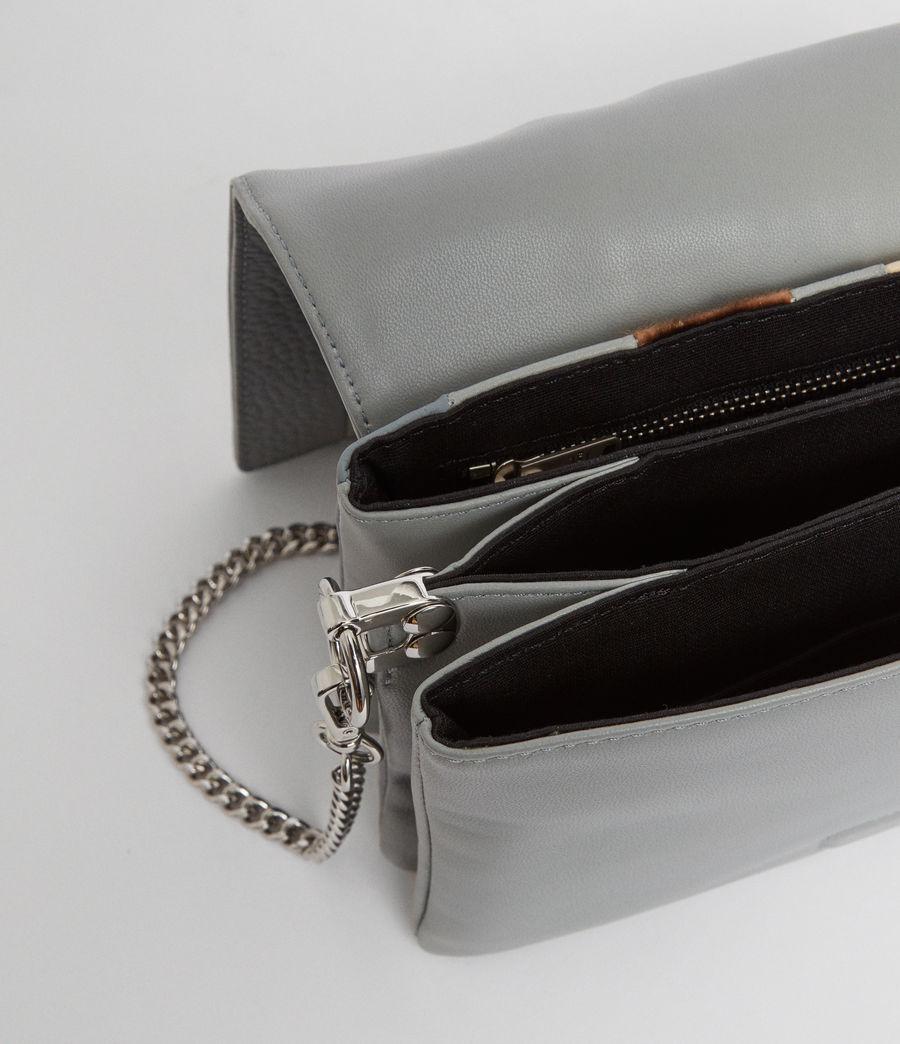 Womens Captain Leather Multi-Flap Shoulder Bag (blue_stripe) - Image 4