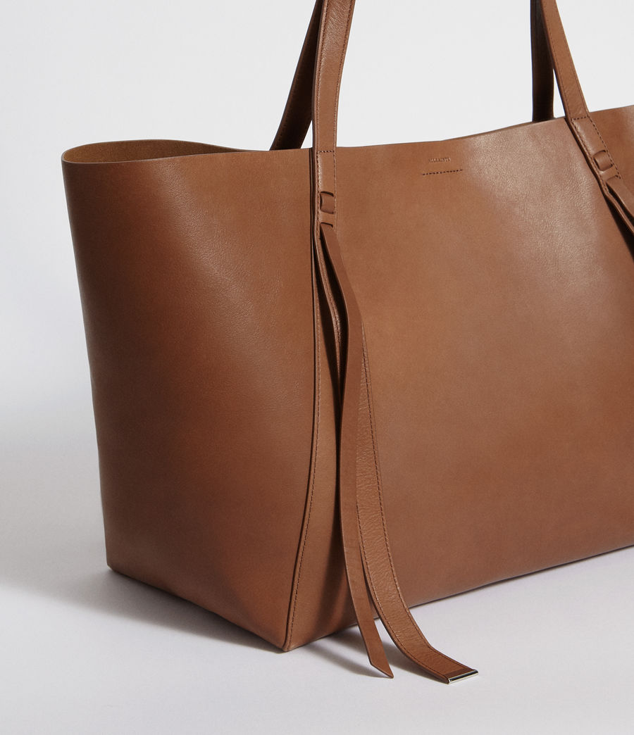 Womens Vincent Leather East West Tote (luggage_brown) - Image 3