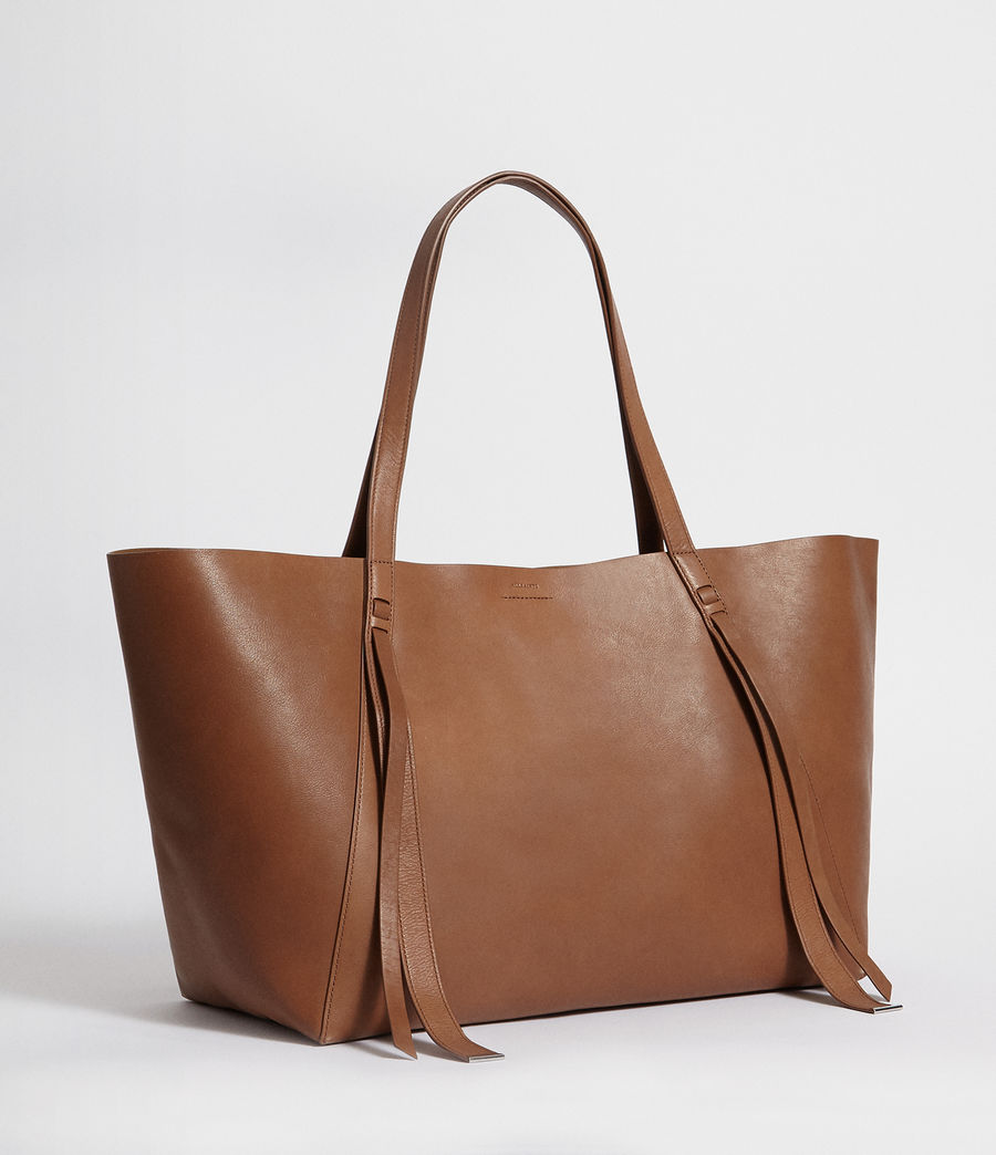 Womens Vincent Leather East West Tote (luggage_brown) - Image 4