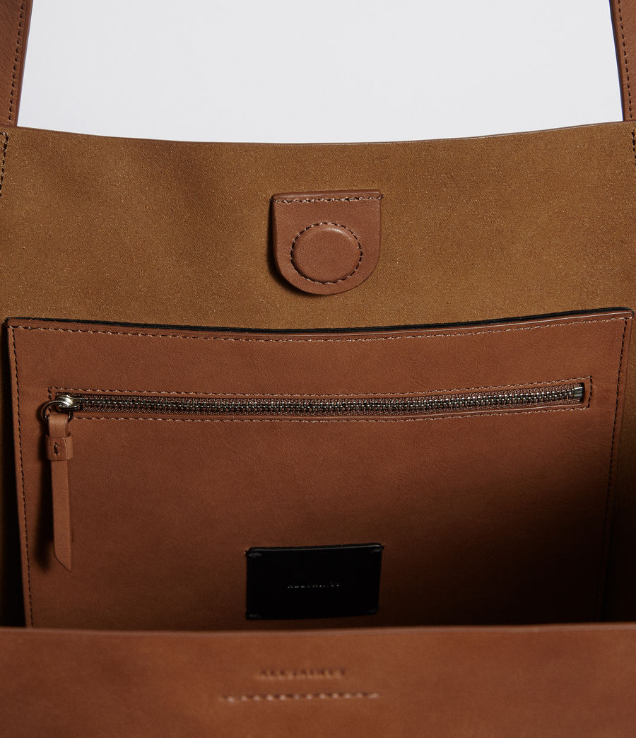 Womens Vincent Leather East West Tote (luggage_brown) - Image 5