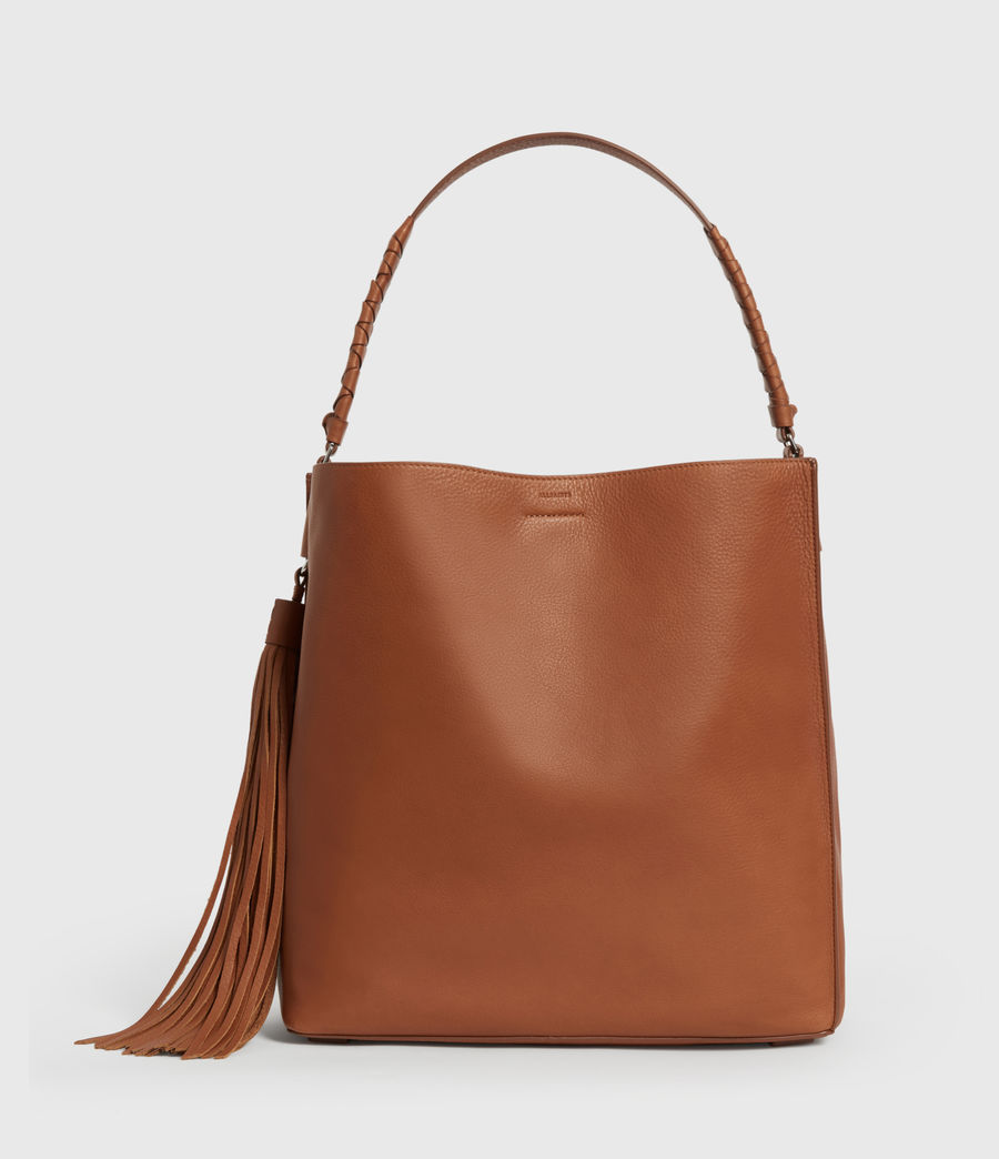 Donne Borsa Tote Shirley North - In pelle zigrinata (tan) - Image 1