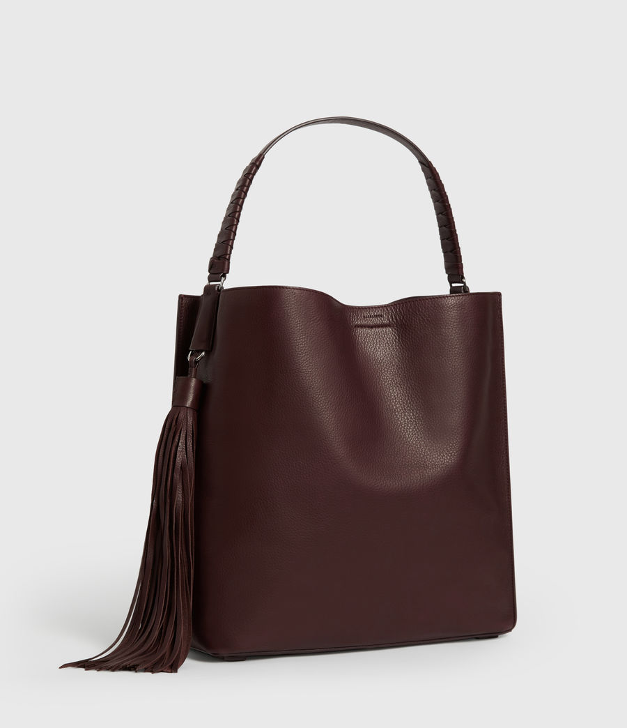 Womens Shirley North South Leather Tote Bag (bordeaux_red) - Image 3