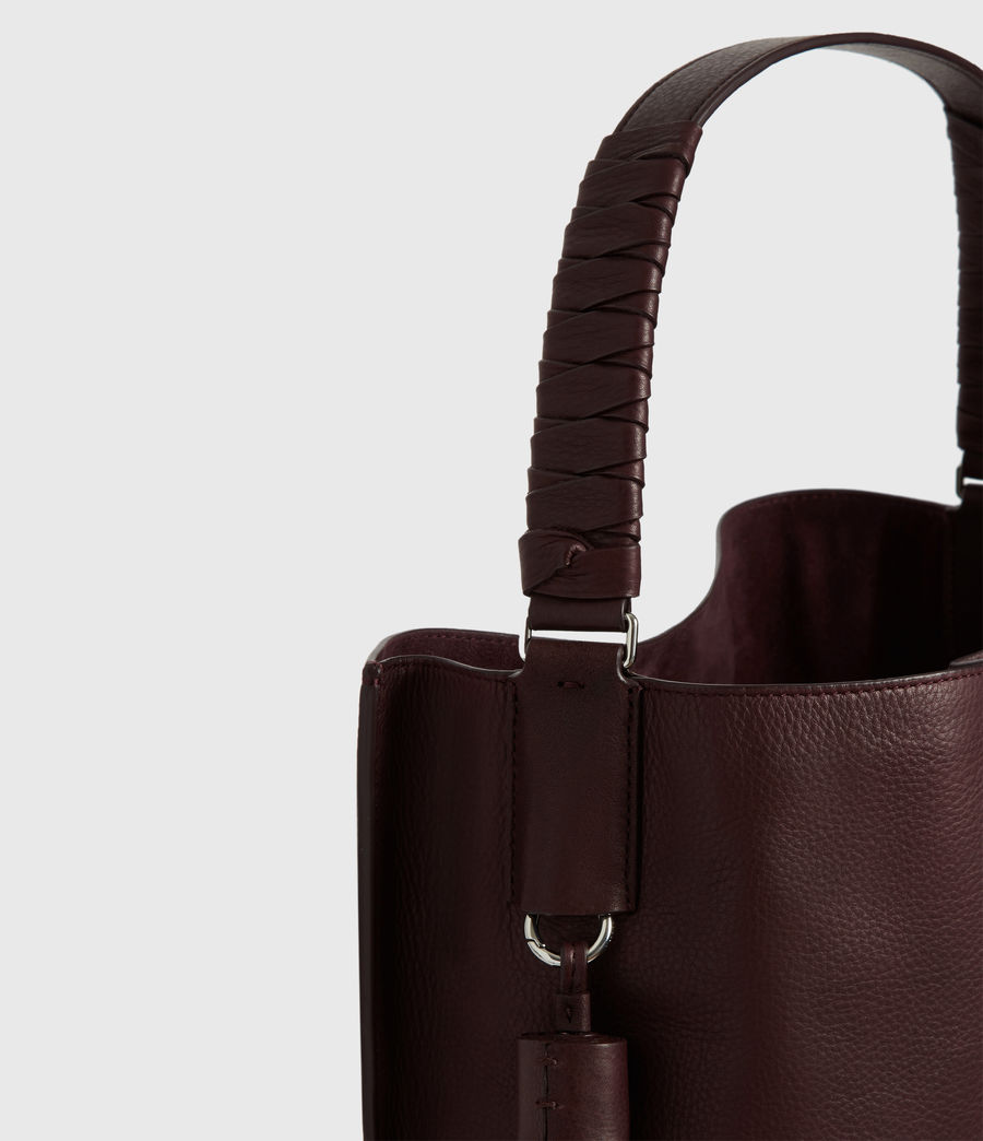 Womens Shirley North South Leather Tote Bag (bordeaux_red) - Image 6