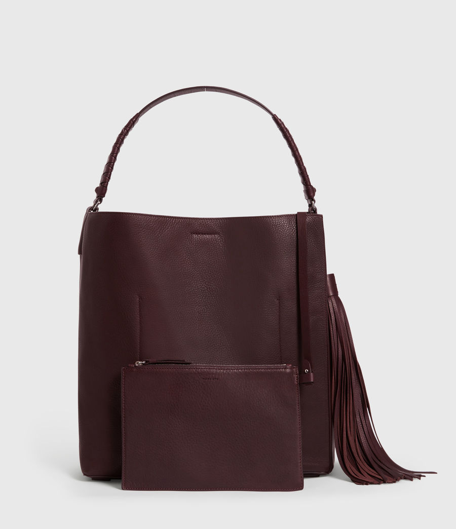 Womens Shirley North South Leather Tote Bag (bordeaux_red) - Image 7