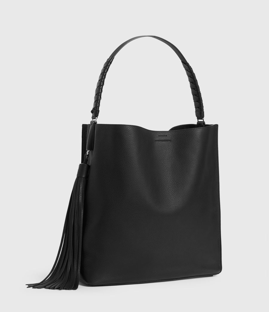 Women's Shirley North South Leather Tote Bag (black) - Image 3