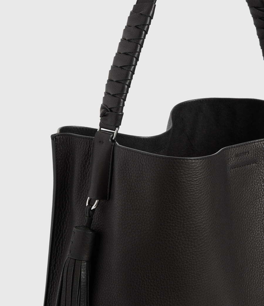 Women's Shirley North South Leather Tote Bag (black) - Image 5