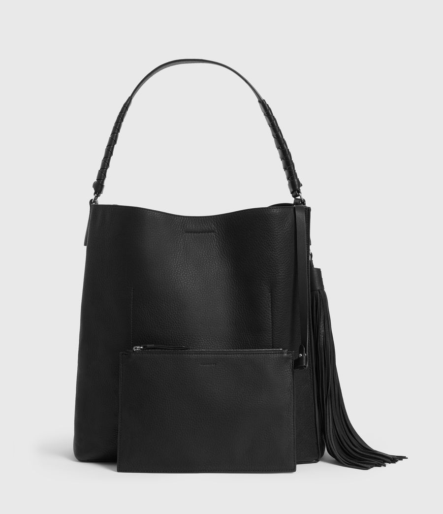 Women's Shirley North South Leather Tote Bag (black) - Image 6