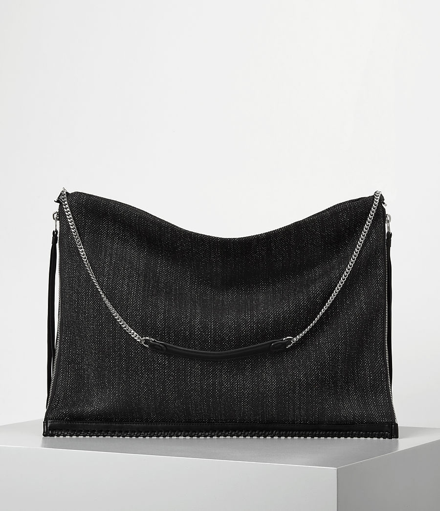 Donne Fleur De Lis Chain Shoulder Hobo/Black (black_black) - Image 1