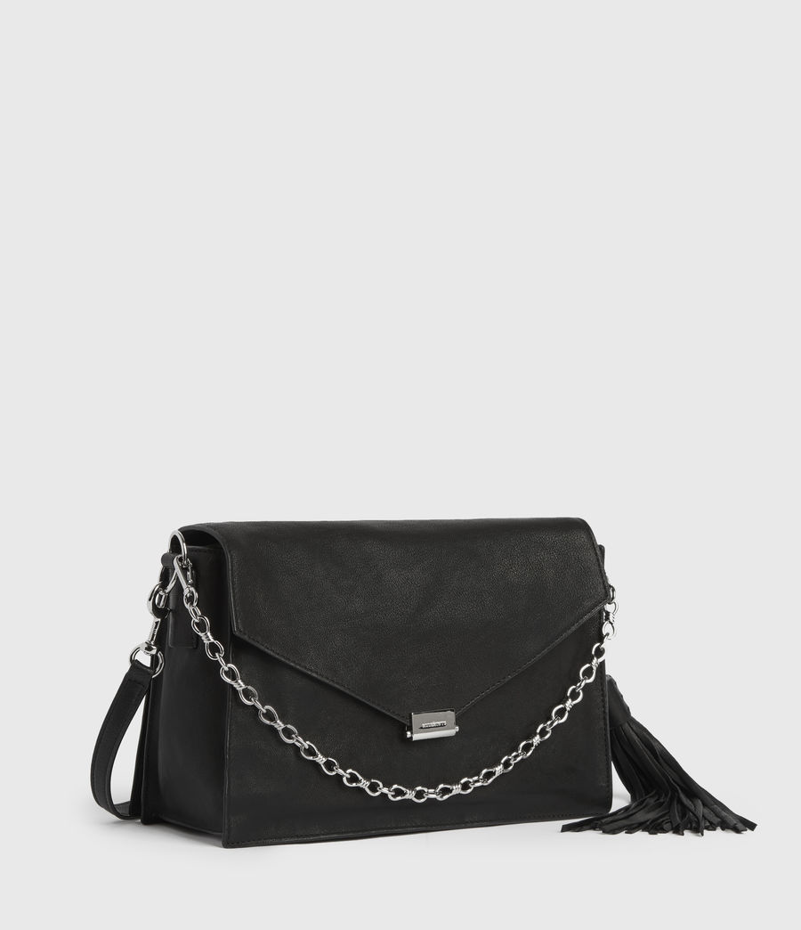 Womens Miki Leather Shoulder Bag (black) - Image 3