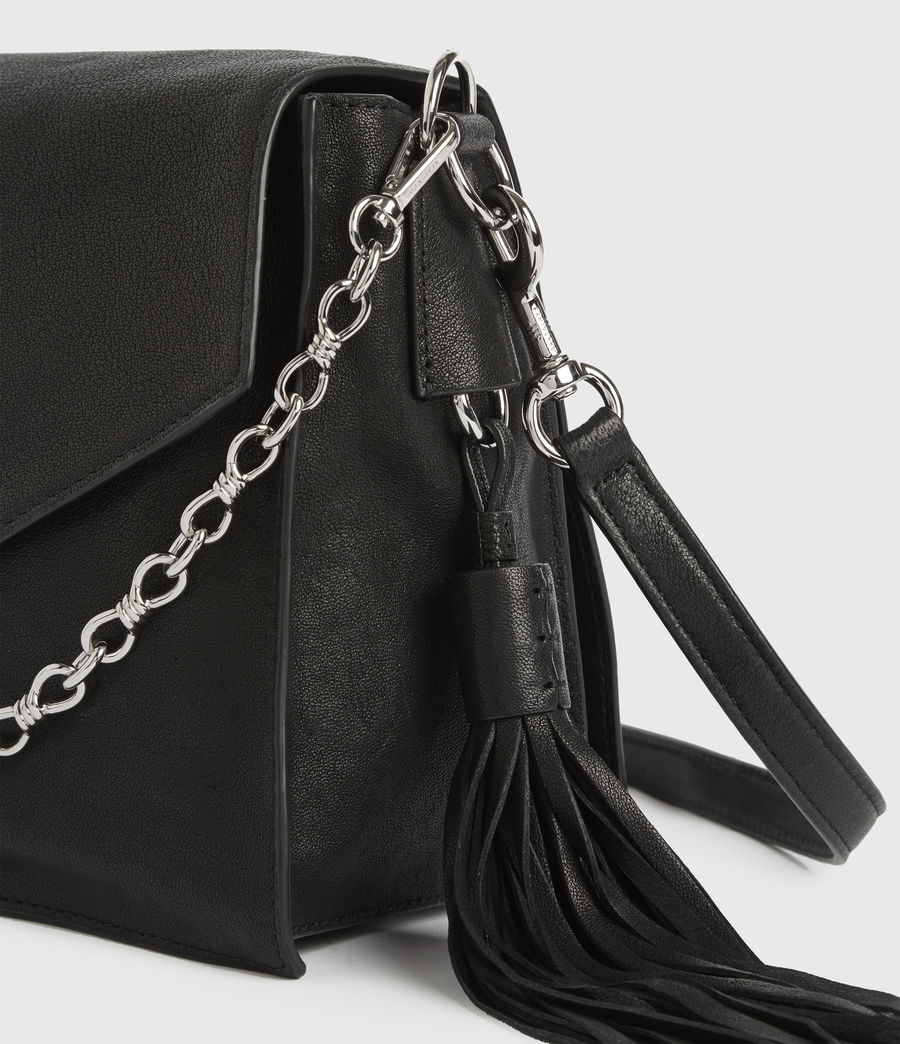 Womens Miki Leather Shoulder Bag (black) - Image 5
