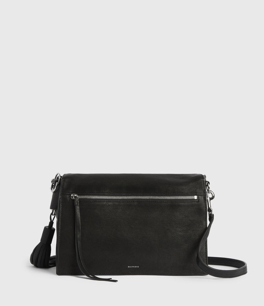 Womens Miki Leather Shoulder Bag (black) - Image 7