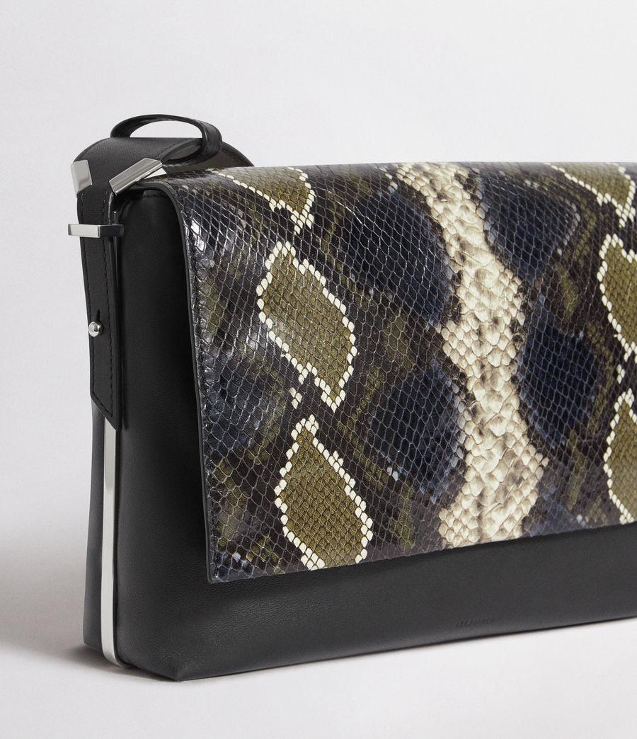 Womens Versailles Large Leather Shoulder Bag (black_multi_dk_kha) - Image 3