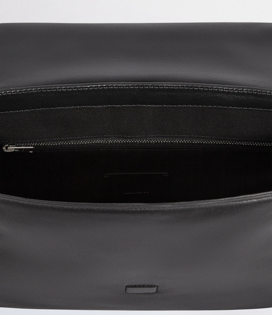 Womens Versailles Large Leather Shoulder Bag (black_multi_dk_kha) - Image 8