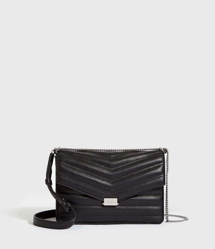 Women's Justine Flap Leather Crossbody Bag (black) - Image 1