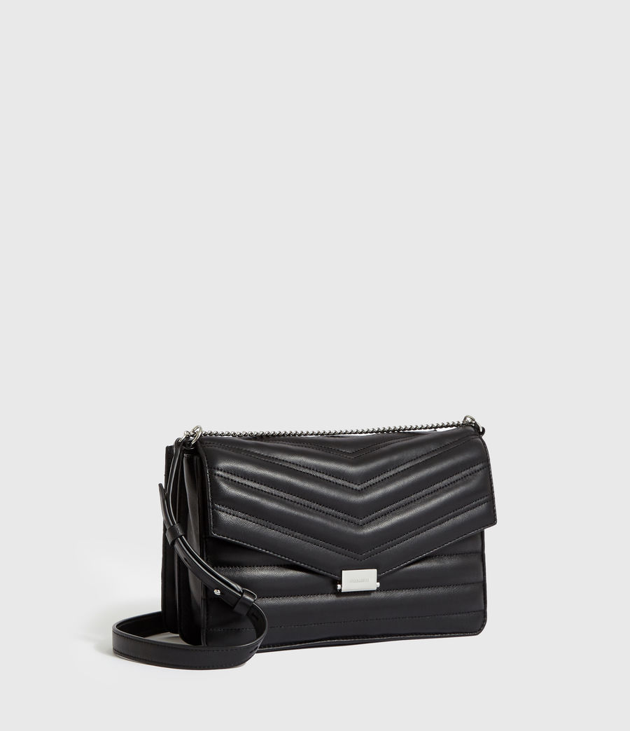 Women's Justine Flap Leather Crossbody Bag (black) - Image 3