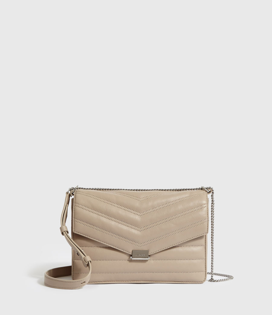 Women's Justine Flap Leather Crossbody Bag (sandstone) - Image 1