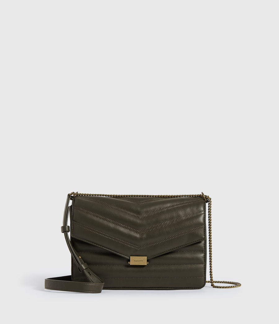 Womens Justine Flap Leather Crossbody Bag (khaki_green) - Image 1