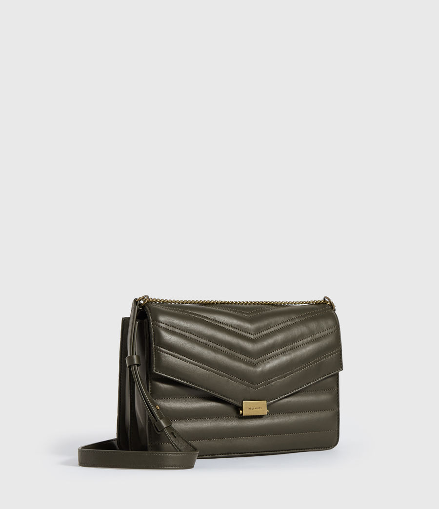 Womens Justine Flap Leather Crossbody Bag (khaki_green) - Image 3