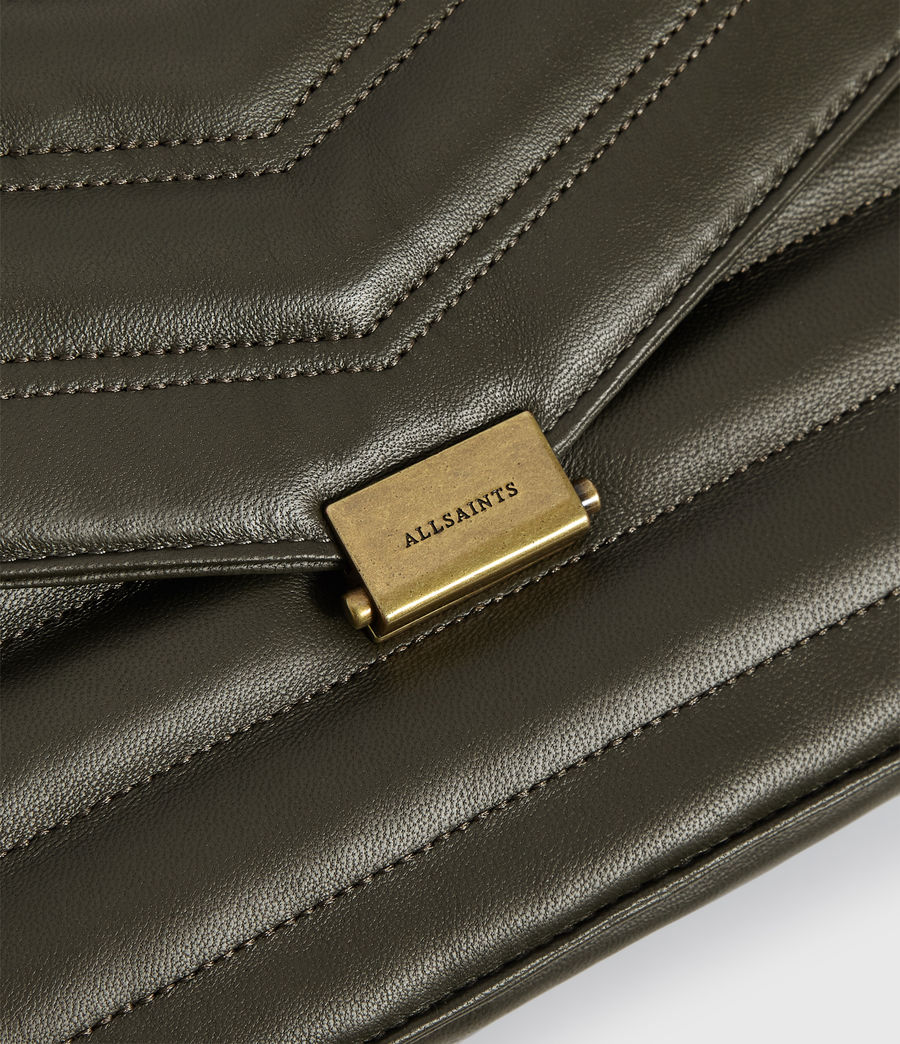 Womens Justine Flap Leather Crossbody Bag (khaki_green) - Image 4