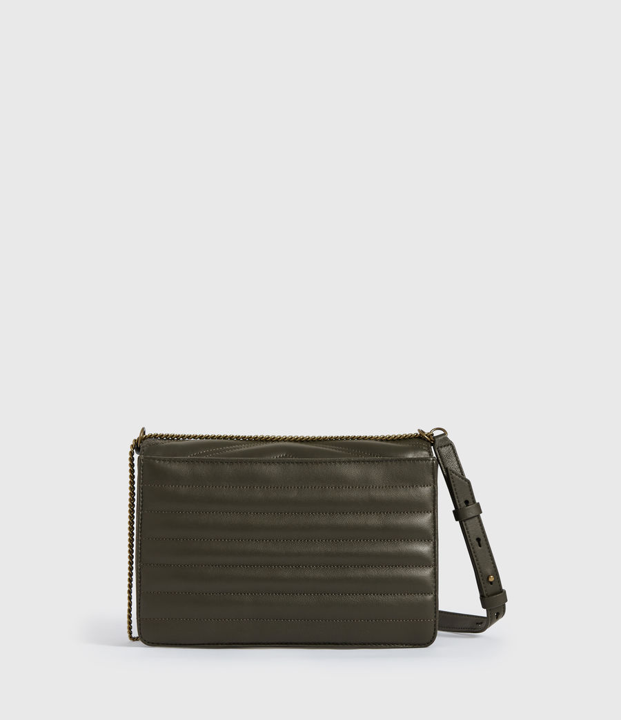 Womens Justine Flap Leather Crossbody Bag (khaki_green) - Image 7