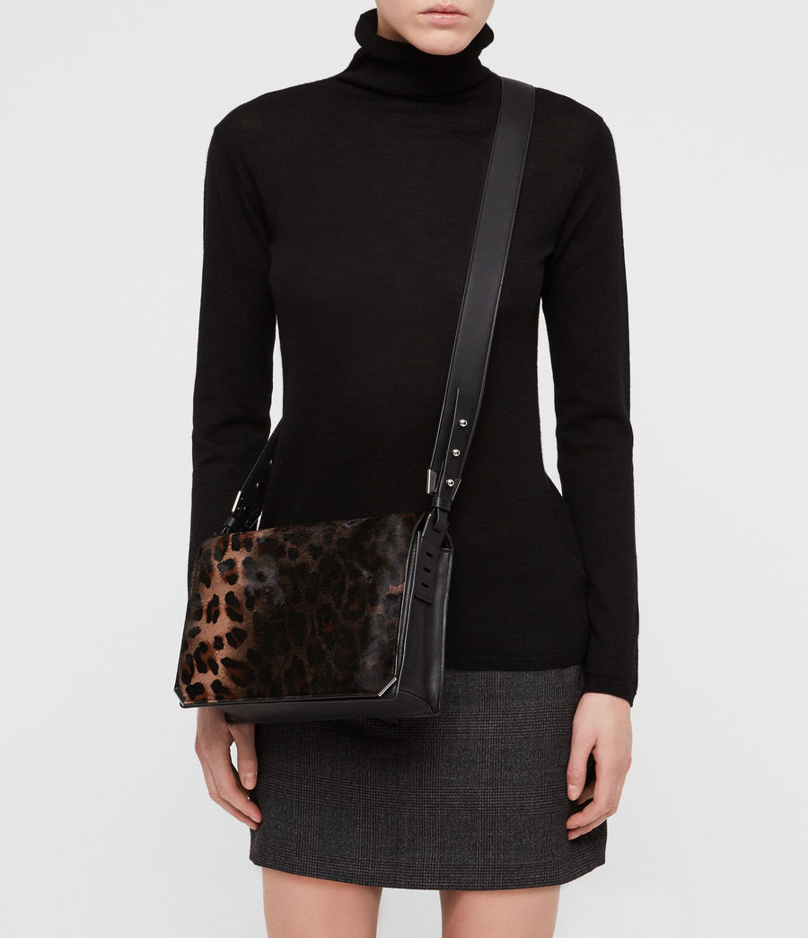 Women's Vincent Leather Shoulder Bag (leopard_black) - Image 2