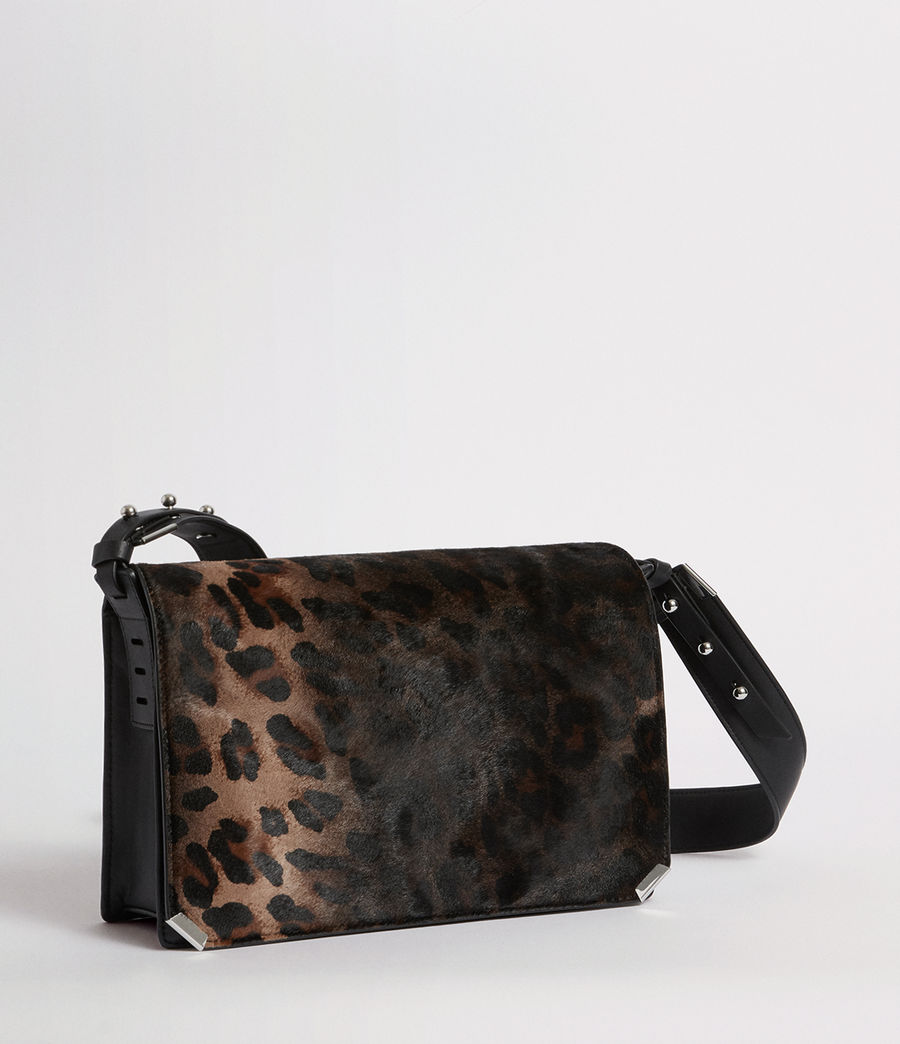 Women's Vincent Leather Shoulder Bag (leopard_black) - Image 4