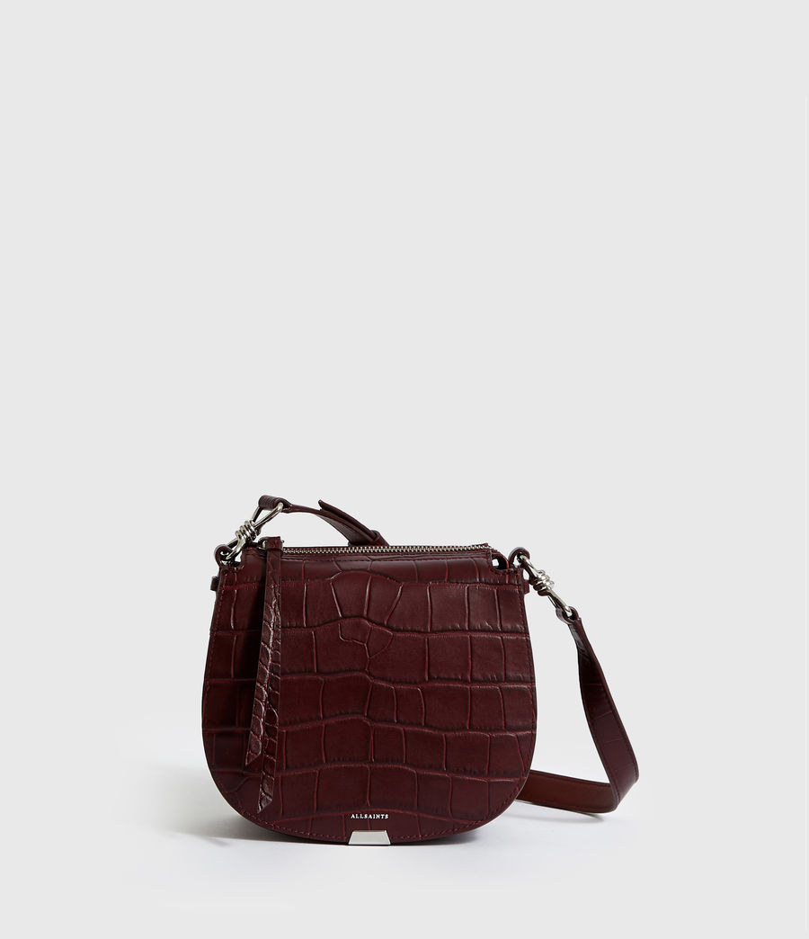 Women's Polly Small Round Leather Crossbody Bag (bordeaux_red) - Image 1