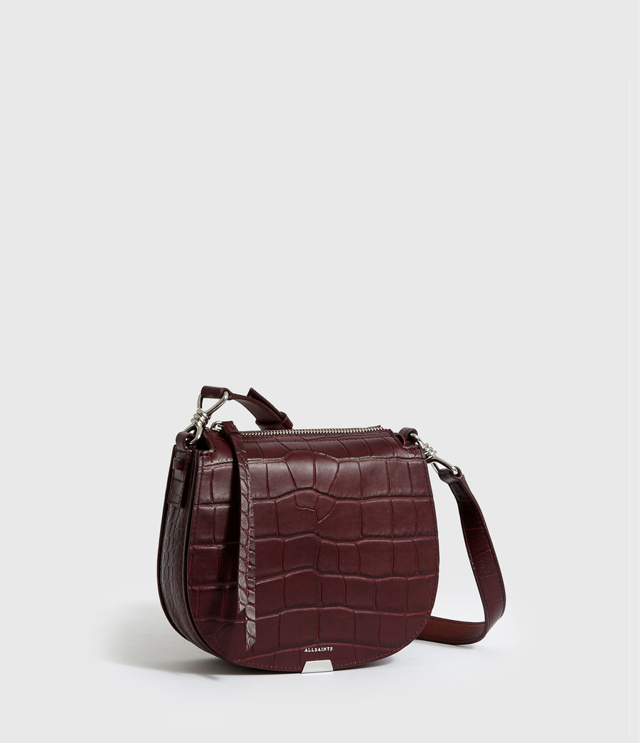 Women's Polly Small Round Leather Crossbody Bag (bordeaux_red) - Image 3
