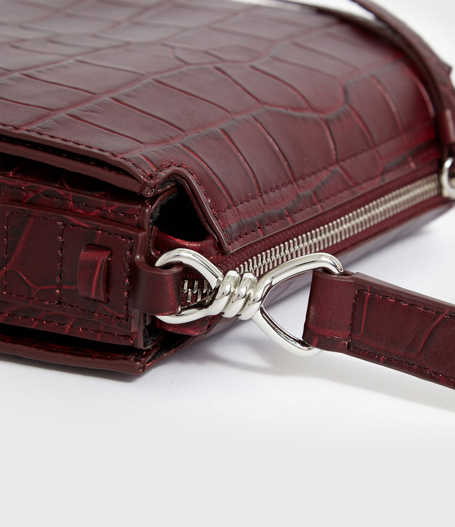 Women's Polly Small Round Leather Crossbody Bag (bordeaux_red) - Image 4