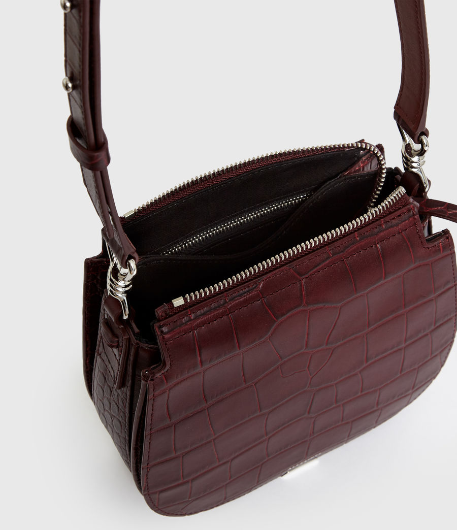 Women's Polly Small Round Leather Crossbody Bag (bordeaux_red) - Image 6