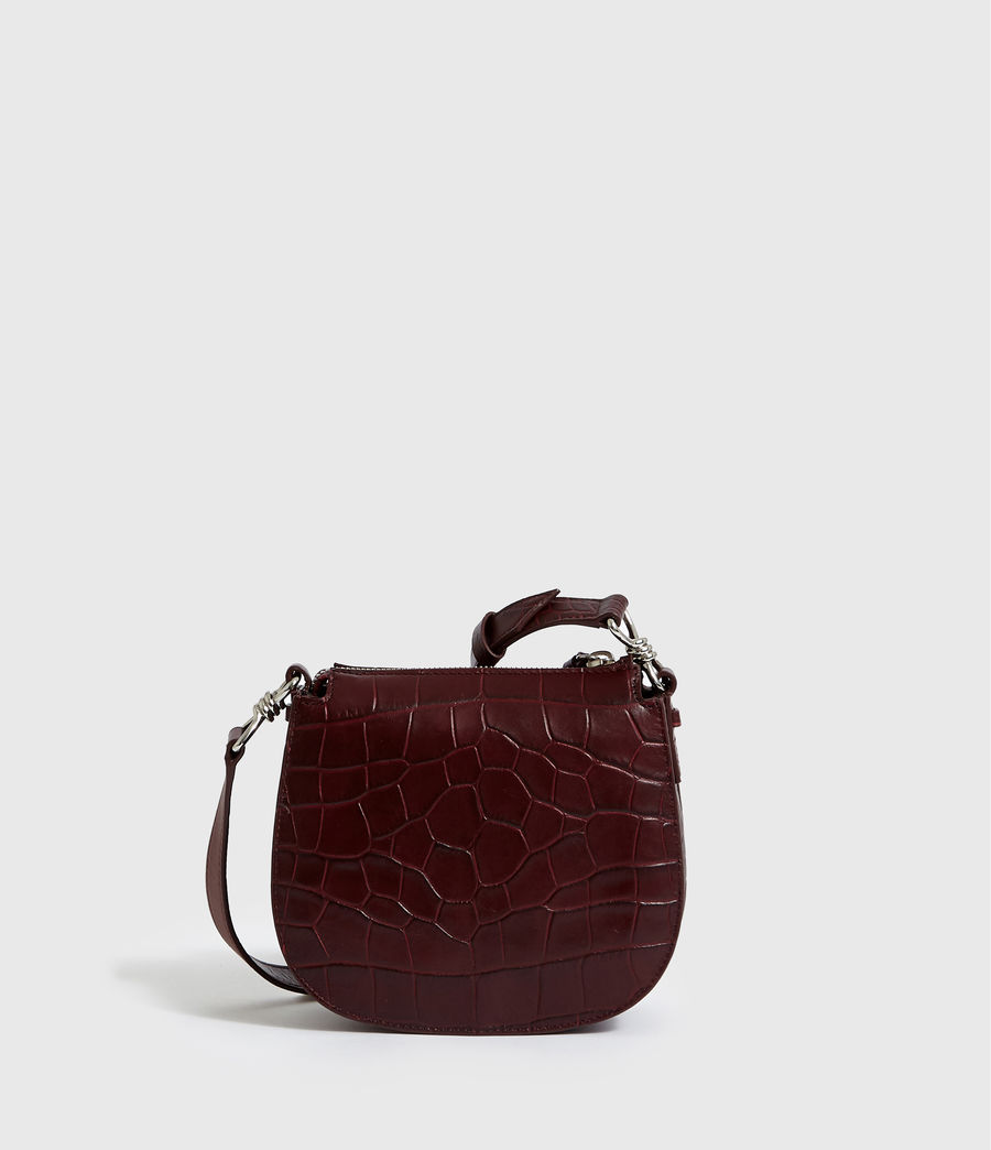 Women's Polly Small Round Leather Crossbody Bag (bordeaux_red) - Image 7