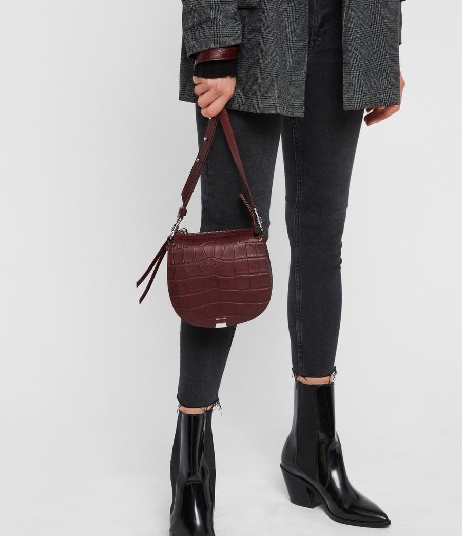 Womens Polly Small Round Leather Crossbody Bag (bordeaux_red) - Image 7