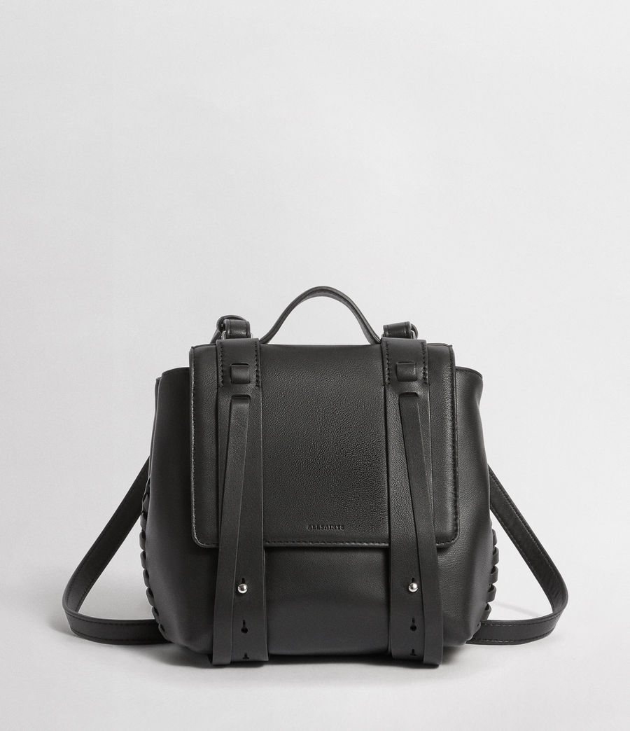 Womens Fin Leather Mini Backpack (black) - Image 1