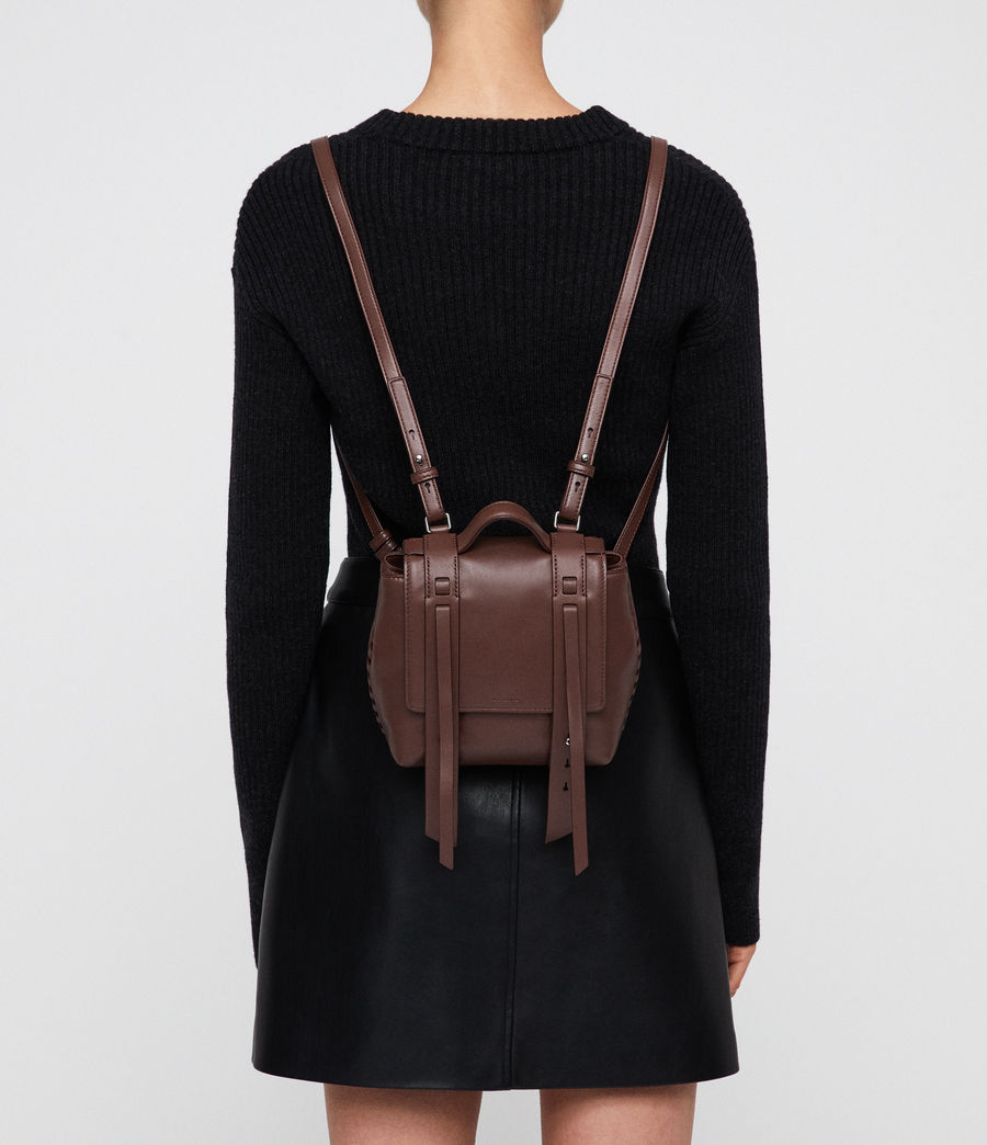 Mujer Fin Leather Mini Backpack (port_burgundy) - Image 1