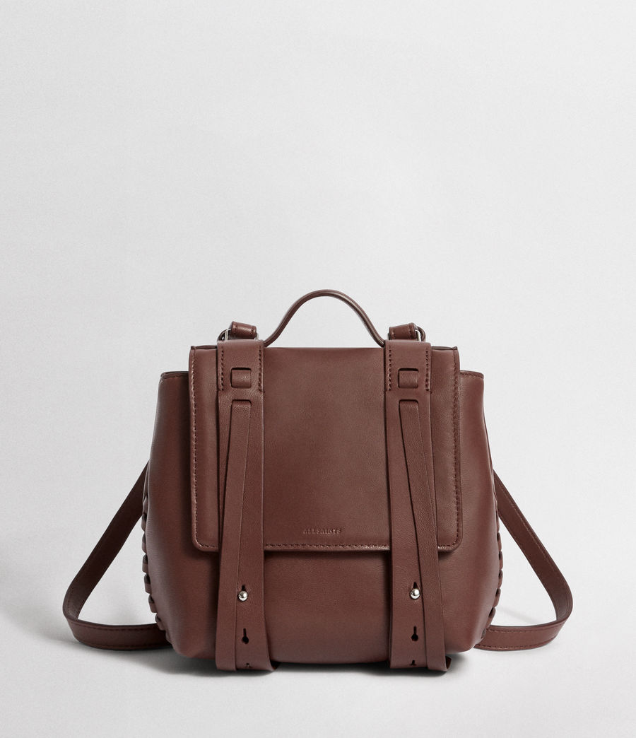 Womens Fin Leather Mini Backpack (port_burgundy) - Image 2