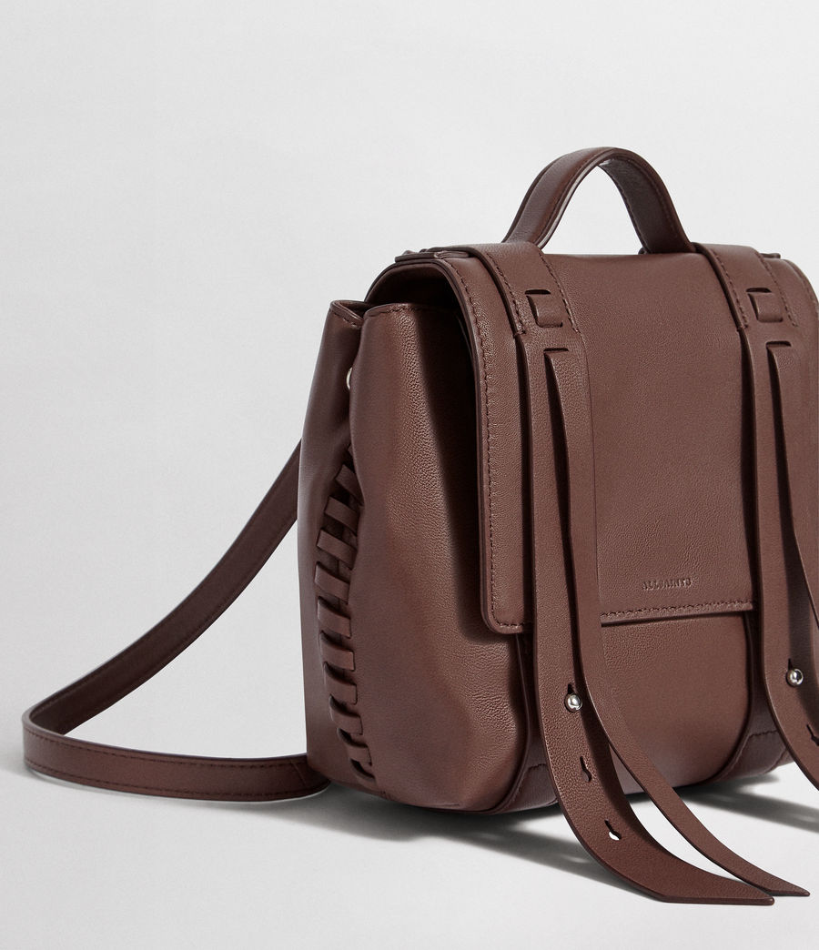 Womens Fin Leather Mini Backpack (port_burgundy) - Image 5