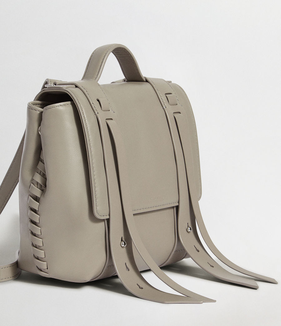 Womens Fin Leather Mini Backpack (natural_grey) - Image 4