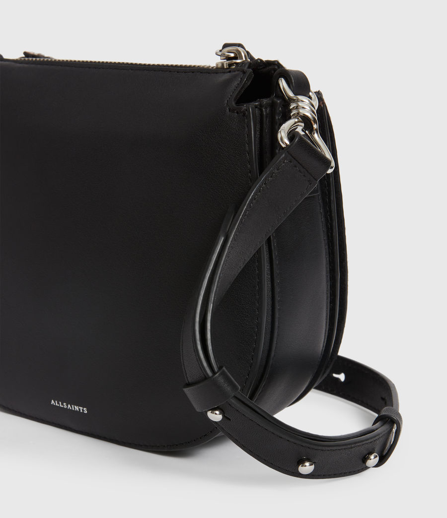 Women's Kim Small Round Leather Crossbody Bag (black) - Image 6