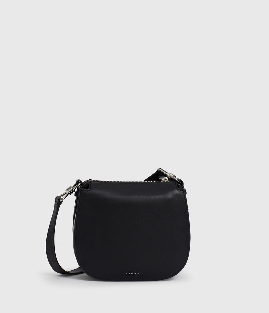 Women's Kim Small Round Leather Crossbody Bag (black) - Image 7