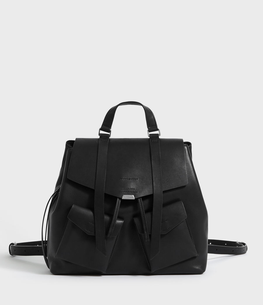Womens Captain Leather Backpack (black) - Image 1