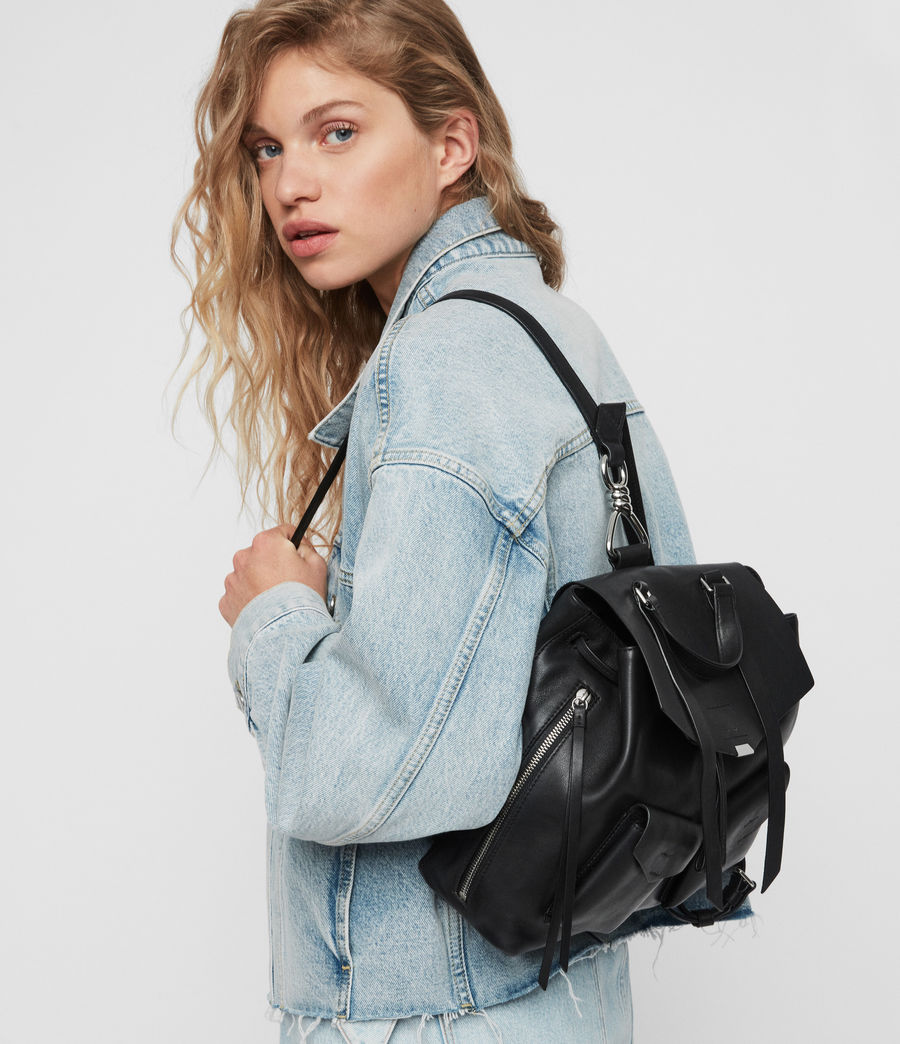 Women's Captain Leather Backpack (black) - Image 2