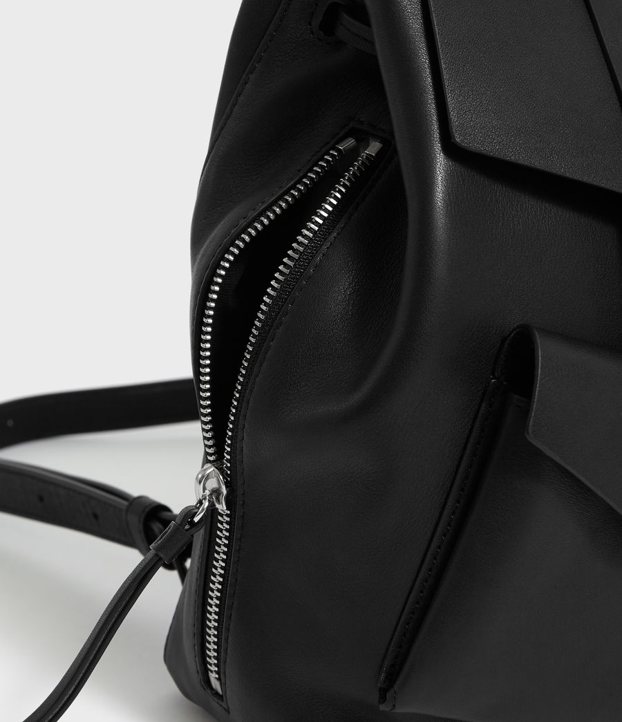 Womens Captain Leather Backpack (black) - Image 6