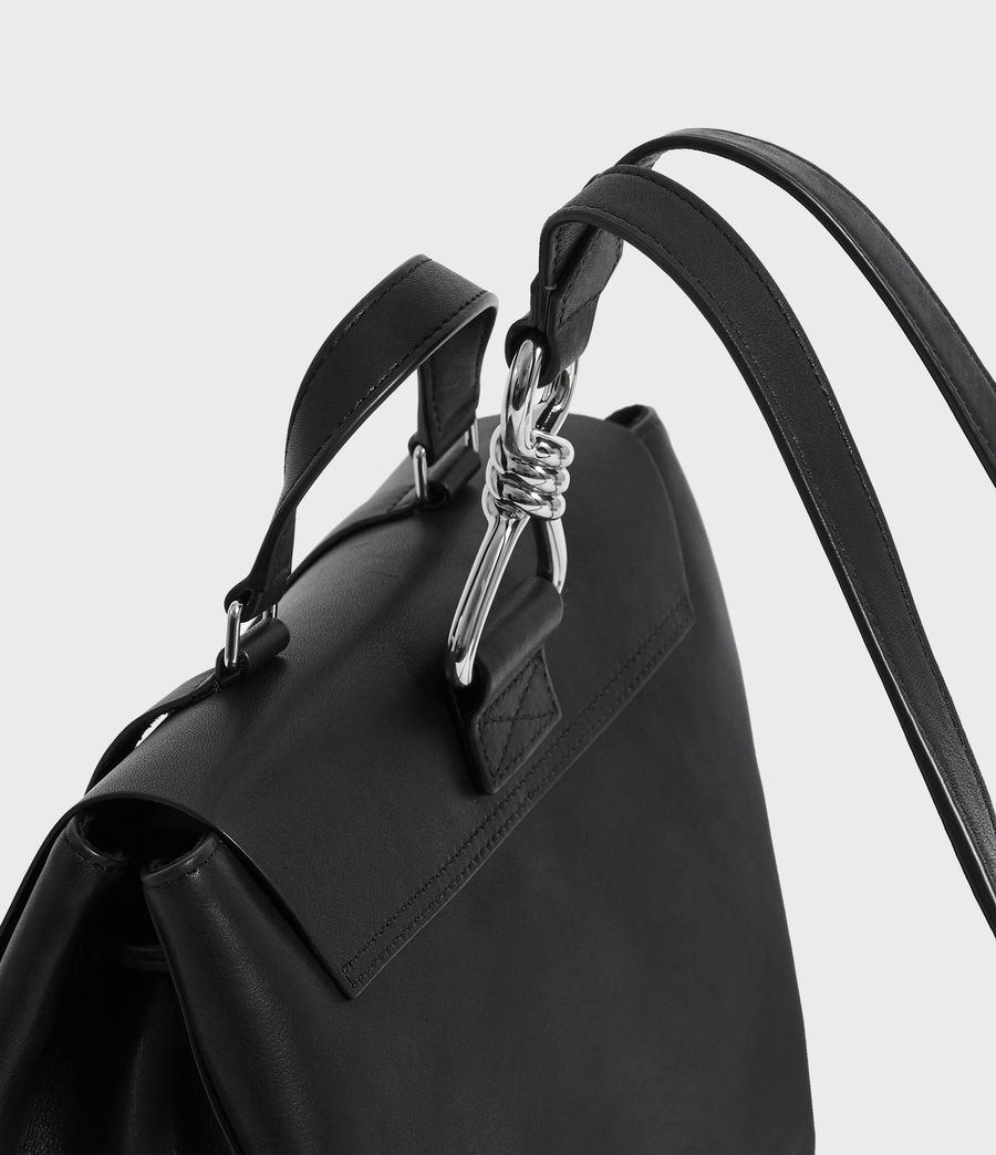 Womens Captain Leather Backpack (black) - Image 7