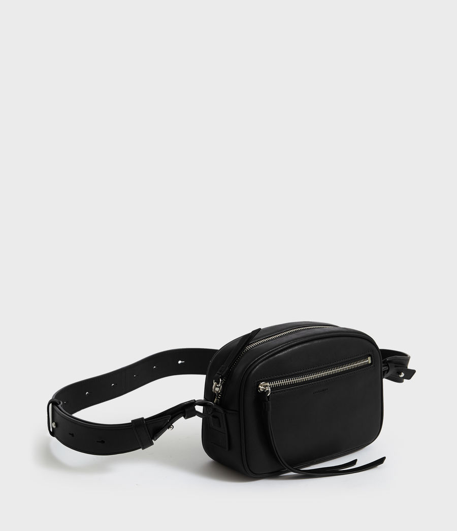 Womens Captain Leather Fanny Pack Crossbody Bag (black) - Image 3