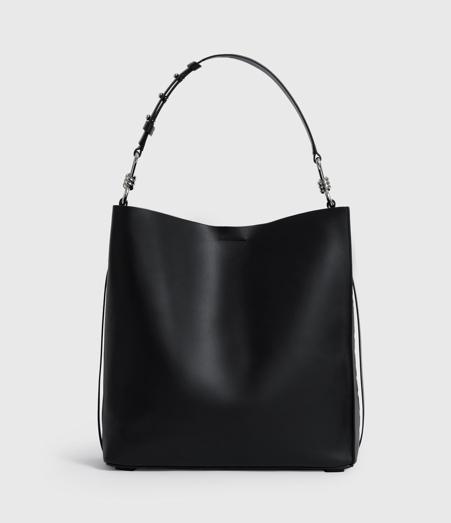 Women's Nina North South Leather Tote Bag (black) - Image 2